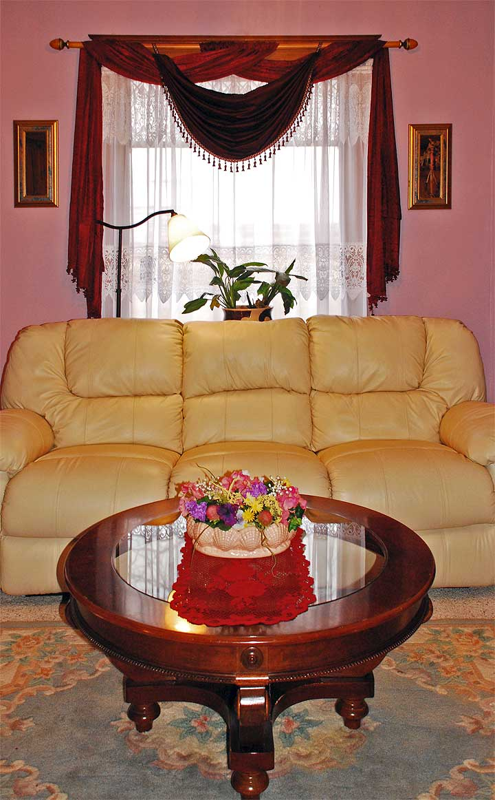 Our large living room offers comfortable leather couches with built in recliners , a great view through our large living room windows and an antique fireplace to enjoy on the cold nights with a loved one or friends and family. We have hot cocoa, tea and coffee available.